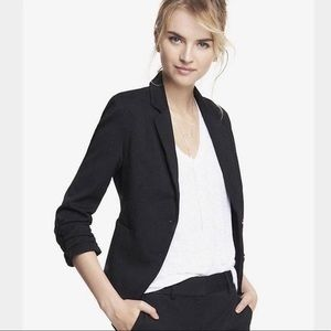 Express Black Blazer with Ruched Sleeves